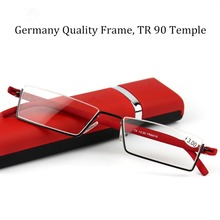 Patent Eye Glasses Slim Metal Frame with TR 90 Temple Read Glasses Quality Eyewear Female and Male Reading Glasses with Case