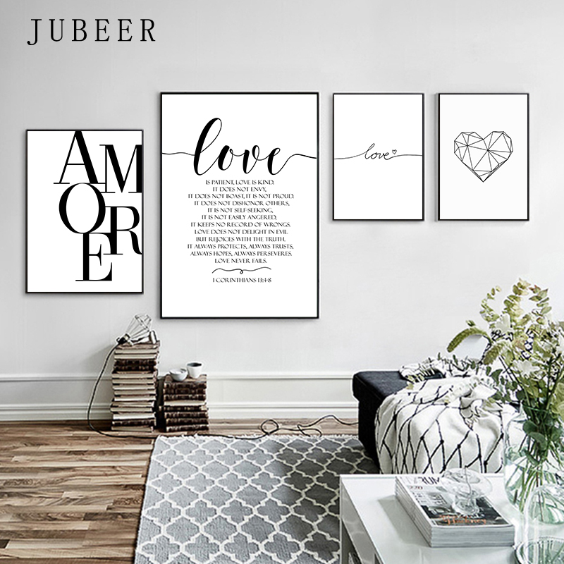 HTB1HpJzXNrvK1RjSszeq6yObFXaj Scandinavian Style Love Poster Black and White Canvas Painting Amore Wall Pictures For Living Room Nordic Decoration Home Art