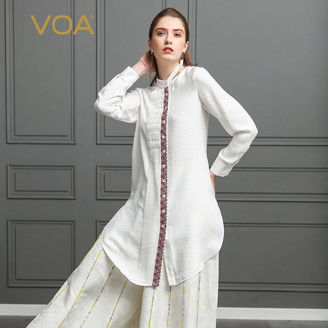 VOA Jacquard Silk Blouse White Plus Size Loose Women Tops Office Shirt Formal Casual Long Sleeve Appliques Spring BLH01101