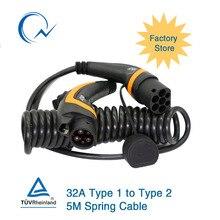 32A однофазный кабель EV J1772 тип 1-Тип 2 IEC 62196-2 EV разъем для зарядки с 5 метровым спиральным кабелем TUV/UL электромобиль