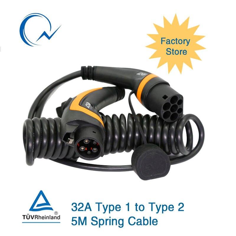 Câble EV monophasé 32A J1772 Type 1 à Type 2 IEC62196 EV fiche de charge avec câble spiralé 5 mètres TUV/UL US à EU EV chargeur