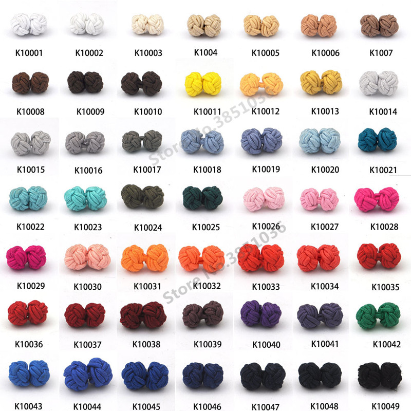 100 pairs/lot New Silk Knot Cufflinks Upscale Men's Classic Double Rope Ball Knot Shape Cuff Links Handmade Silk Knots Cuff Link-in Tie Clips & Cufflinks from Jewelry & Accessories    1
