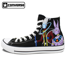 Men Women Converse All Star Anime Dragon Ball Beerus Whis Custom Design Hand Painted Shoes High Top Black Canvas Sneakers