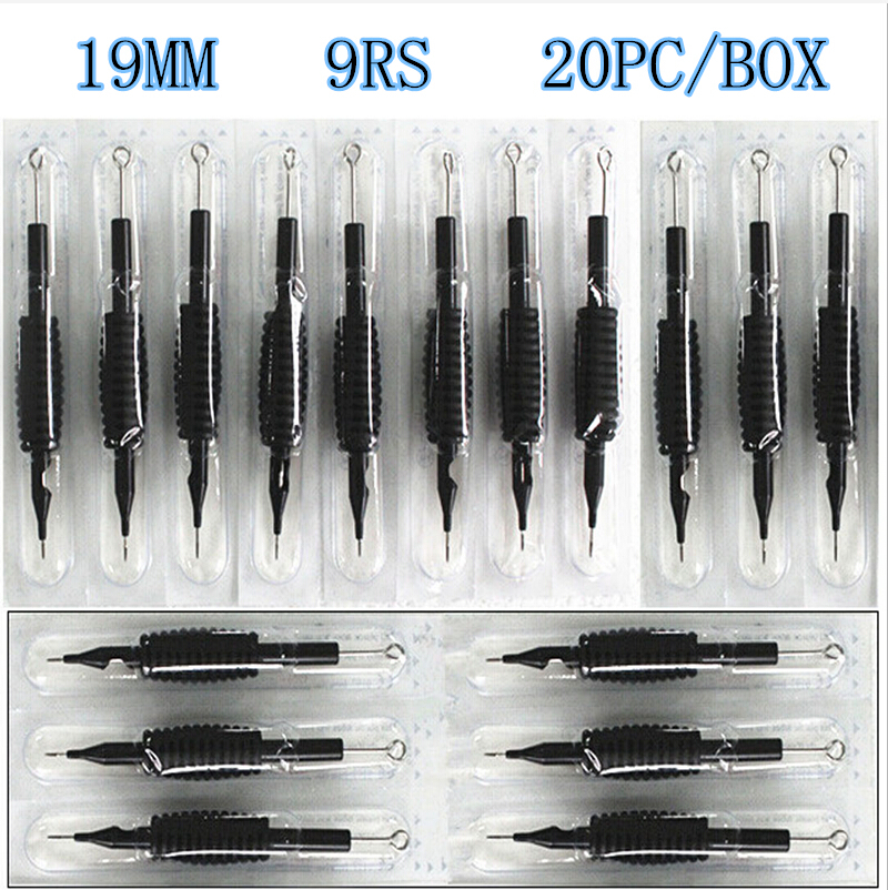 20 X Disposable Tattoo Grips Tube With Needles Assorted 9RS Size 3/4