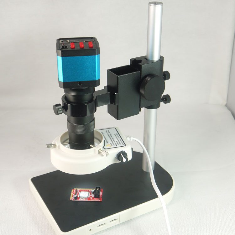 14MP CMOS HDMI microscopio cámara para la industria del laboratorio PCB salida TF tarjeta video recorder + lente de montaje C + 56 LED Light + stand