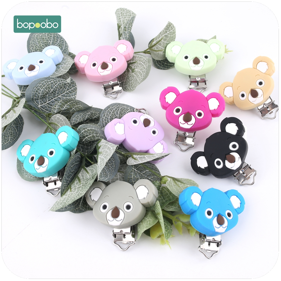 Bopoobo 1PC Cute koala Silicone Pacifier Clip New Baby Gift Baby Teether Teething Accessories DIY Tool Baby Toy Pacifier Holder