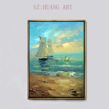 Modern simplicity smooth sailing sea view hand-painted oil painting living room entrance hallway corridor hanging
