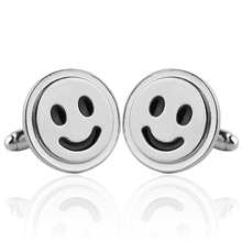 1 Pair Cute Happy Smiling Face Cufflinks For Women Men Wedding & Business Cuff Button Fancy Silver Plated French Shirt Cuff Link pair of stylish coconut tree shape silver alloy cufflinks for men
