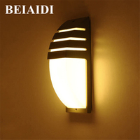 BEIAIDI 6W Modern Outdoor Garden Porch Wall Lamp Waterproof Exterior Building Wall Light Aluminum Hotel Villa Corridor Sconces