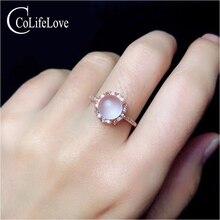 Ювелирные изделия colife модные вечерние кольца из розового кварца 7 мм кольцо из натурального розового кварца серебряное кольцо 925 пробы Серебряное розовое кварцевое ювелирное изделие
