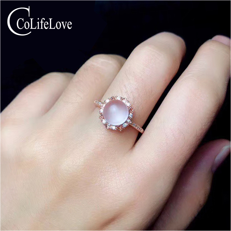 CoLife Jewelry Fashion Rose Quartz Ring For Party 7mm Natural Rose Quartz Silver Ring 925 Sterling Silver Rose Quartz Jewelry