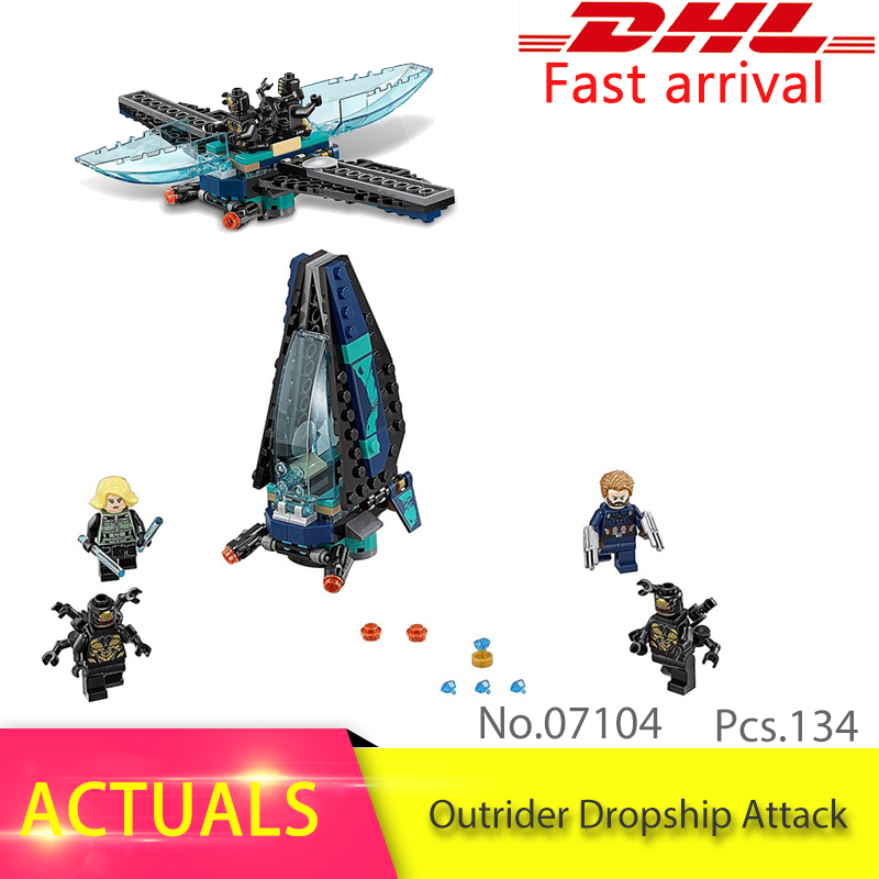 Lepin 07104 134pcs Super Heroes Series Outrider Dropship Attack Set Model Building Block Brick Toys Boy's Gift compatible 76101