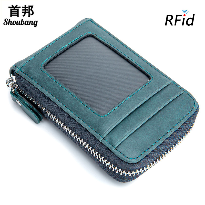 Genuine Leather Anti RFID Card Holder Wallet Female Credit CardHolder Coin Purse Women P ...