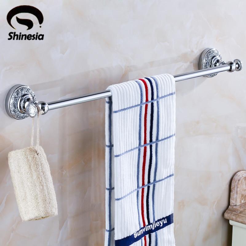 Shinesia Solid Brass Bathroom Towel Rack Single Carved Towel Bar Bathroom Accessory Chrome Polished