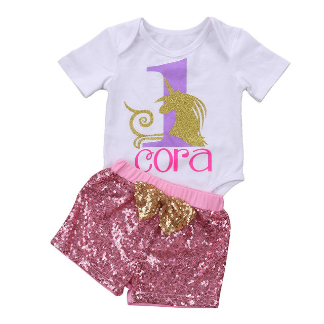 fa99683d 2017 Fashion Summer Baby Girl Sets 2Pcs Newborn Baby Girls Unicorn Tops  Bodysuits Sequins Pants Outfits 2Pcs Set Clothes Casual