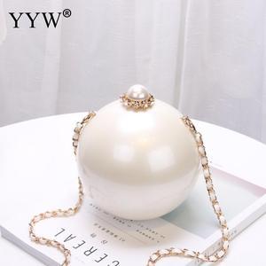 Image 3 - Designer Women White Ball Shape Acrylic Clutch Bags Luxury Pearl Decor Bridal Purse Handbags Chain Messenger Bags Shoulder Bag