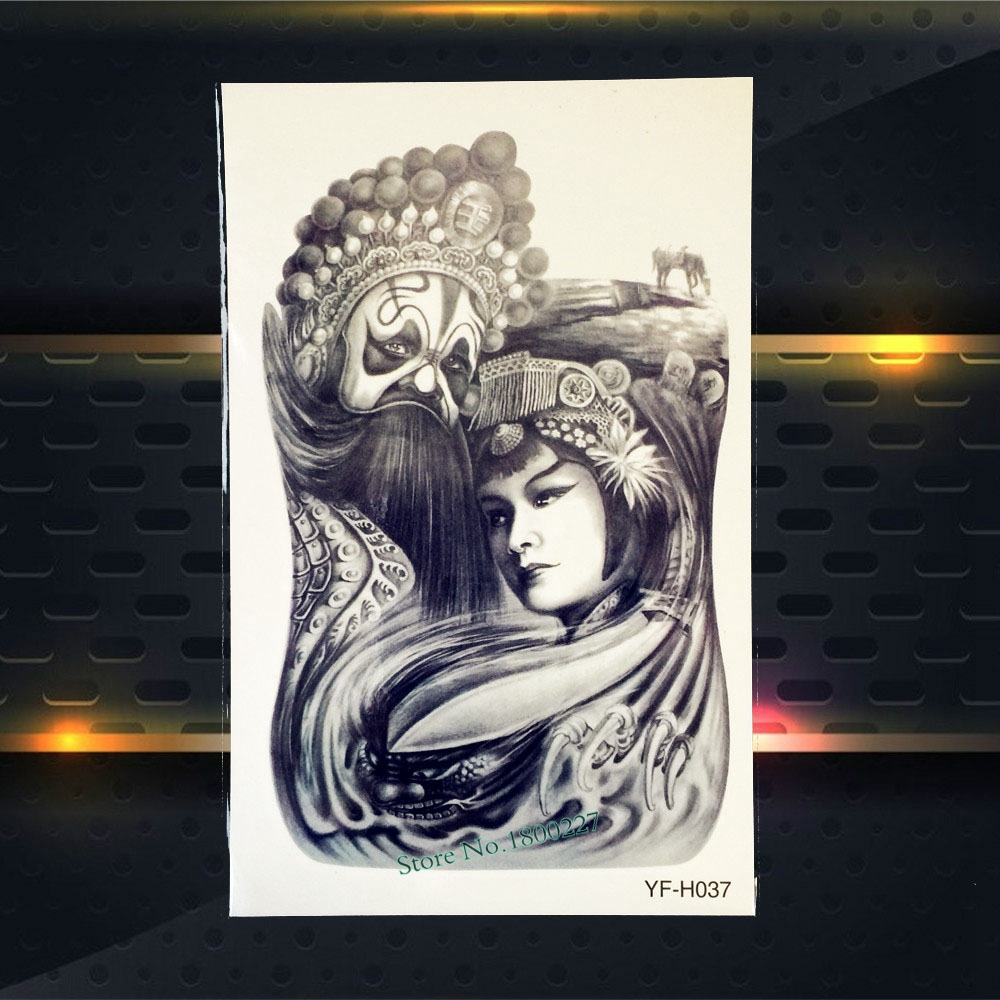 Sketch Style Waterproof Decals Fake Tattoo Beijing Opera Actress Actor Design Body Chest Art Temporary Arm Tattoo Sticker PYFH37