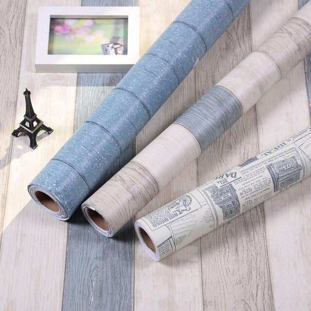 木目から防水壁紙の接着剤壁スティック寝室の壁紙ワードローブ家具リフォームステッカー