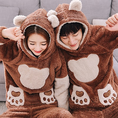Spring Couple Cartoon Hooded Pajamas Set Women Cute Long Sleeve Tops Long Pants Winter Unisex Thick Warm Home Clothes
