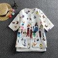 2016 Conjuntos de Conjuntos de Roupas de Primavera Meninas Jaqueta Floral Borboleta Vestido Da Menina Marca Dobby Meninas Crianças Agasalho Casaco Conjunto Vestido D010