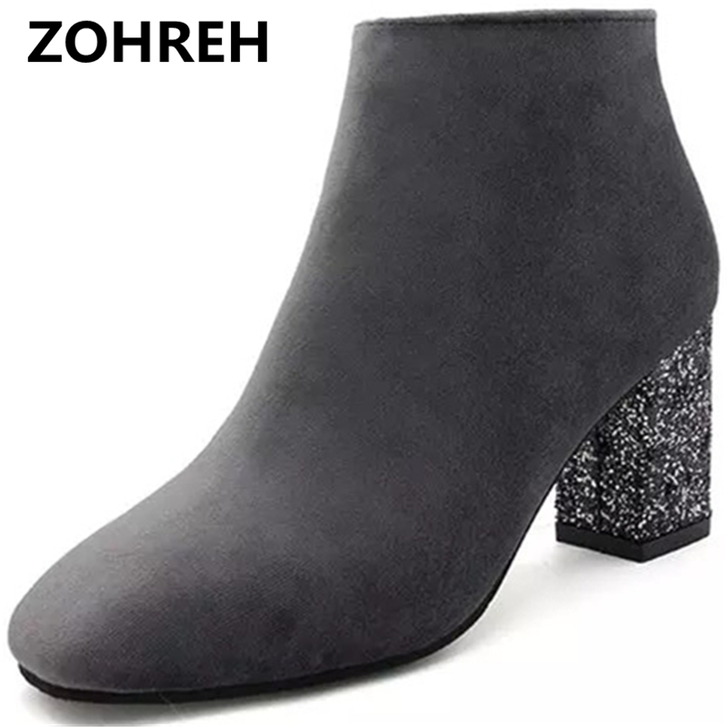 ZOHREH 2018 Designer Women Boots Shoes Women High Heels Ankle Boots Zipper Pointed Toe Glitter Martin Boots Ladies Shoes Large