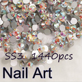 SS3 1440pcs/pack Crystal  AB Nail Art Rhinestones With For DIY Nails Art And Wedding Decorations