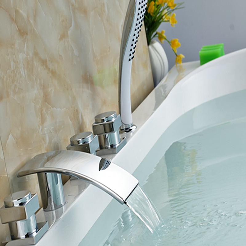 Wholesale And Retail Polished Chrome Brass Waterfall Bathroom Tub Faucet W/ Hand Shower Mixer Tap 5 pcs Sink Mixer Tap