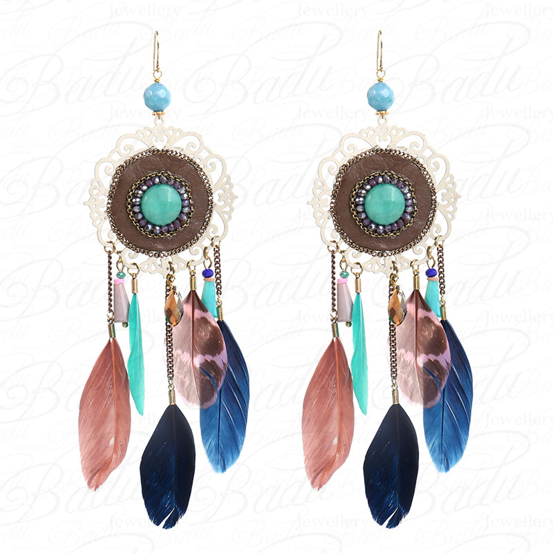HTB1HpLvcPuhSKJjSspmq6AQDpXaP - [Clearance] Women Vintage Bohemian Feather Earrings Filigree Colorful Feathers