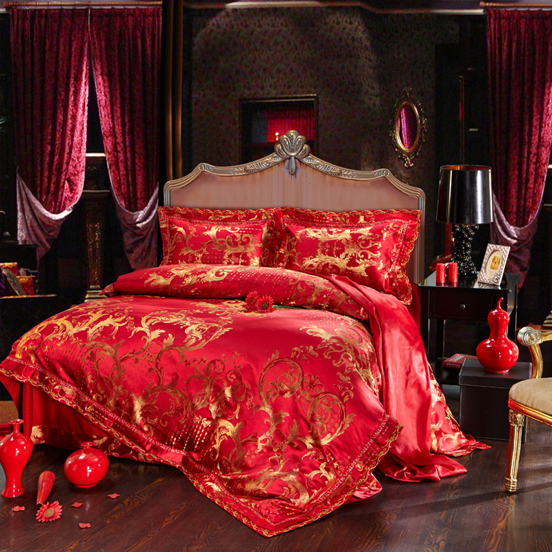 buy red golden oriental embroidery stain. Black Bedroom Furniture Sets. Home Design Ideas