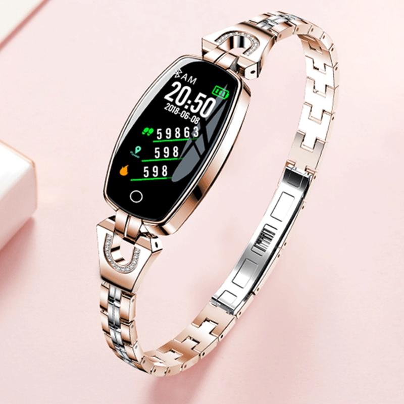 IP67 H8 Femmes Mode Smart Bracelet Coeur Taux Sang Pression bracelet intelligent de remise en forme tracker montre intelligente Femmes Reloj Mujer