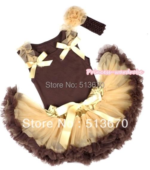 Brown Baby Pettitop y vara de oro de las colmenas y del arco con Dark Light Brown recién nacido Pettiskirt con diadema marrón Goldenrod Rose MABG67