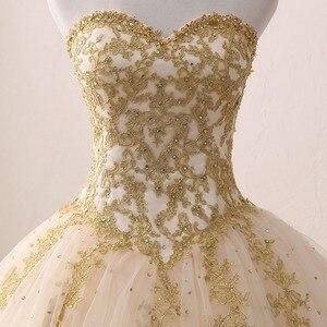 Image 4 - Gold Quinceanera Dresses Lace Appliques Beaded Ball Gown Sweet Strapless Vestidos de 15 Anos Envio Gratis Vestido De Princesa