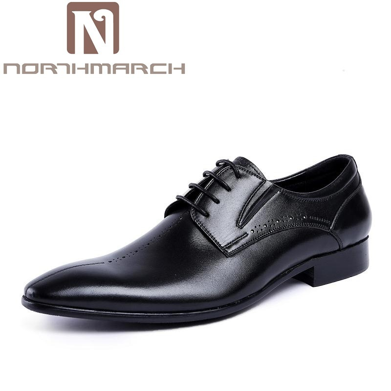 NORTHMARCH 2018 Autumn New Genuine Leather Lace Up Men Formal Shoes Pointed Toe Business Office Male Dress Shoe Brown Men's Flat new 2018 fashion men dress shoes black cow leather pointed toe male oxfords business shoes lace up men formal shoes yj b0034