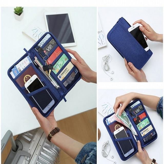 Passport Holder Travel Passport Wallets Multi-purpose Credit Card Ticket Travel Zipper Pouch 2