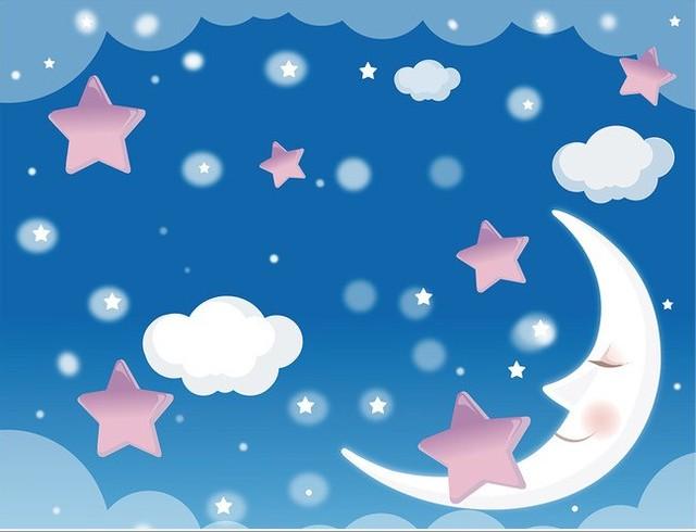 Custom photo wallpaper blue sky wallpaper bedroom for Blue moon mural