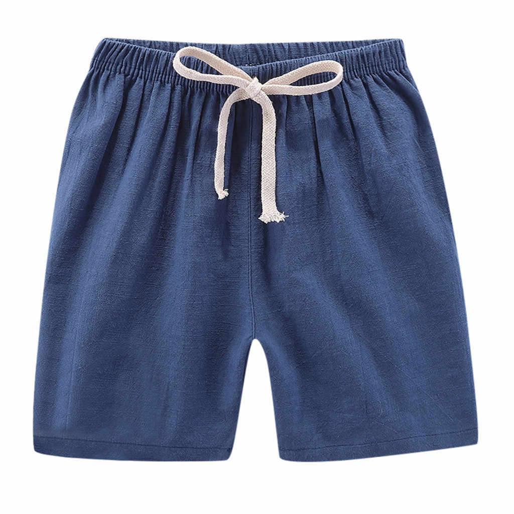 2020 ฤดูร้อนเด็กเด็กผู้หญิงเด็กผู้หญิงผ้าลินินกางเกงขาสั้น Elastic เอวกางเกงชายหาดกางเกงขาสั้นเด็ก