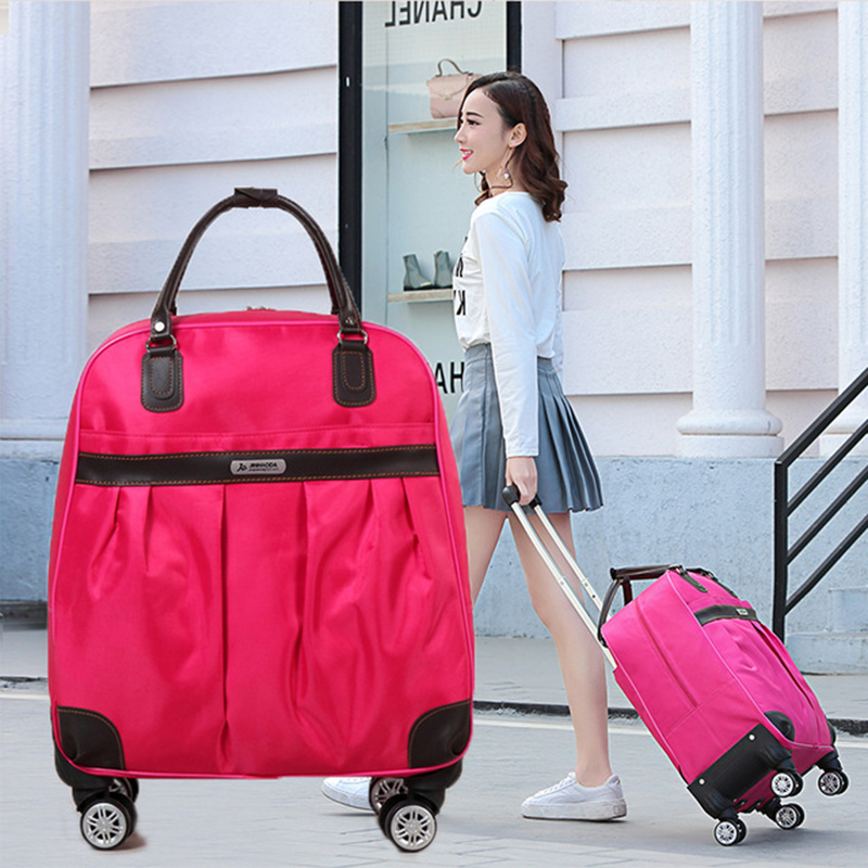 Luggage Suitcase Travel-Bag Wheels Women Brand Hot-Fashion New Casual Stripes