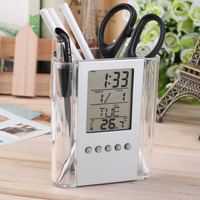 Grey & Transparent ABS multi-functions Digital Desk Pen/Pencil Holder LCD Alarm Clock Thermometer & Calendar Display Home Decor