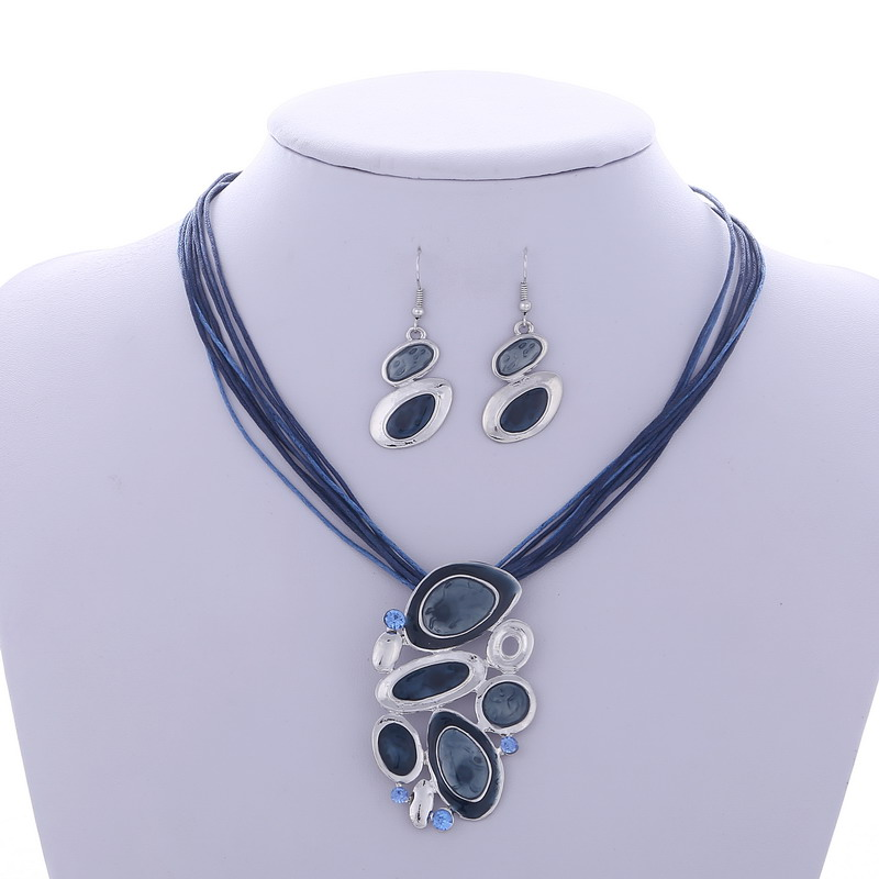 MINHIN Blue Multi Layers Necklace Earring Set For Women Oil Drip Design Silver Pendant Jewelry Set Statement Accessory