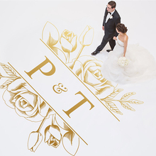 Dance Floor Decal Wedding Vinyl Sticker Party Dancing Deco Flora Decoration Personalized Name WD38