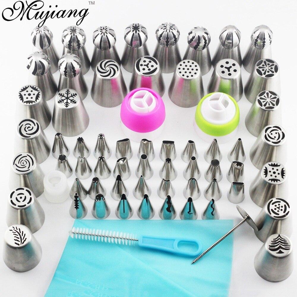 Mujiang 65Pcs Russian Tulip Nozzles Icing Cream Piping Tips Silicone Pastry Bag Converter Baking Pastry Cake Decorating Tools