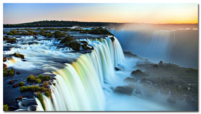 "NICOLESHENTING Sunset - Niagara Falls Art Silk Poster Huge Print 24x43"" Landscape Picture Living Room"