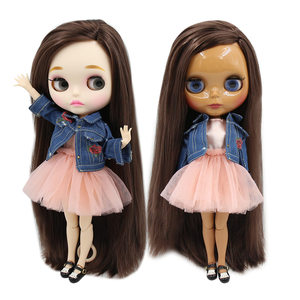ICY factory blyth doll bjd toy dark/white skin long straight deep brown hair side parting joint body 30cm 1/6 BL0222(China)