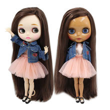 factory blyth doll bjd dark/white skin long straight deep brown hair side parting joint body 30cm 1/6 BL0222(China)