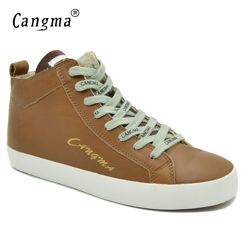 CANGMA Designer Woman's Casual Shoes Sneakers For Girls Genuine Leather Shoes Mid Women Adult Footwear Female Brown Trainers cangma original black footwear woman s casual shoes mid genuine leather sneakers women trainers female adult handmade shoes