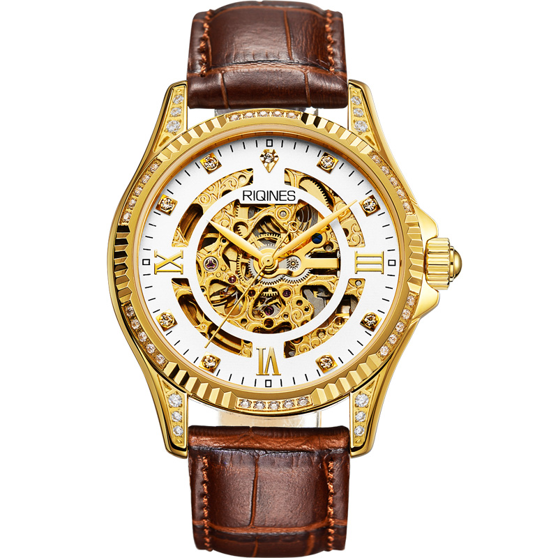 RIQINES golden Limited skeleton watch hollow business male watch automatic mechanical middle East gold watch Austrian diamonds