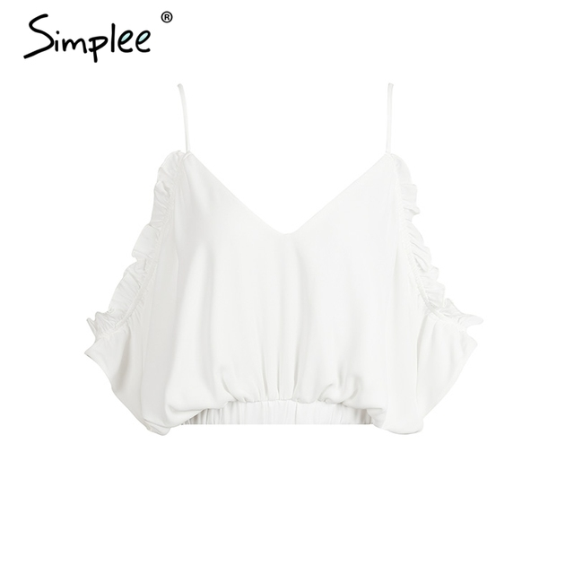Simplee Deep V beach blouse shirt women tops Ruffle chiffon white blouse Elastic backless feminine blouse chemise femme blusas
