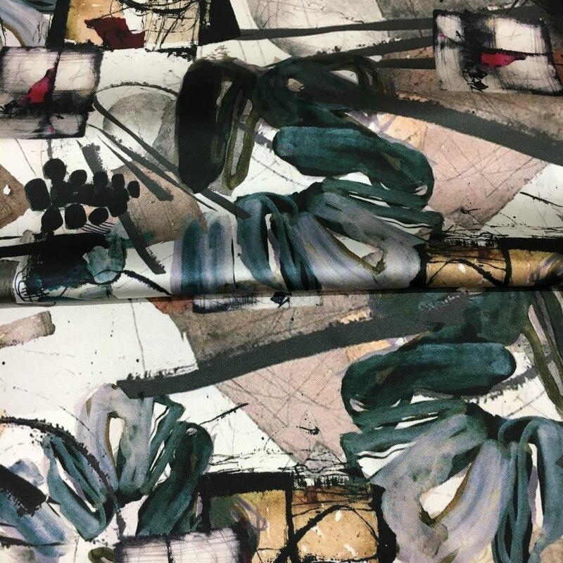 19 millimetri 108 centimetri largo di seta stretch spandex ceroso graffiti digitale silkwashed stretch raso di seta tessuto per il vestito di stoffa della camicia-in Tessuto da Casa e giardino su  Gruppo 3