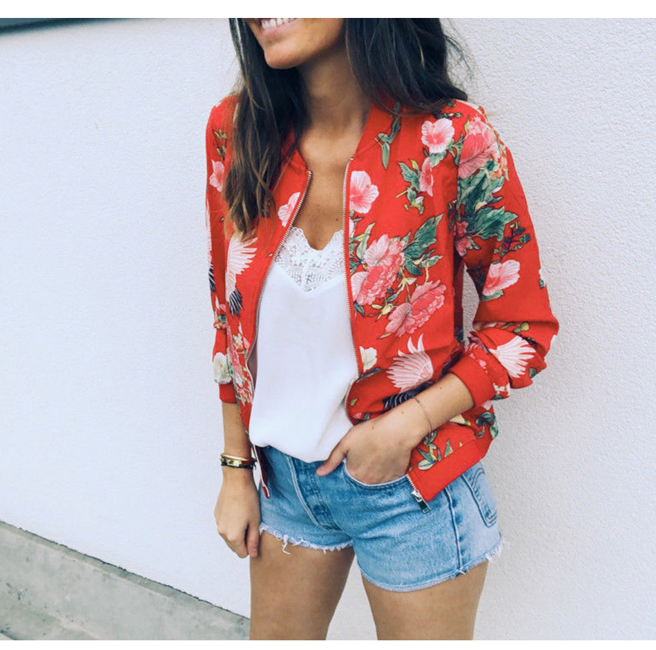 HTB1HpMnSpzqK1RjSZFvq6AB7VXaD Bomber Jacket Women Floral Print Plus Size Coat Spring Summer Ladies Casual Classic O-Neck Long Sleeve Outwears Basic Coats