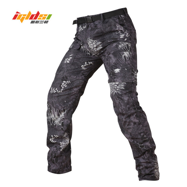 IGLDSI Tactical Army Camouflage Detachable Pants Men Quick Dry Breathable Military Pants Removable Leg Two Parts Man Trousers